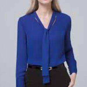White House Black Market Blue Blouse Tie-Neck